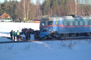 Tåg krasch med taxi